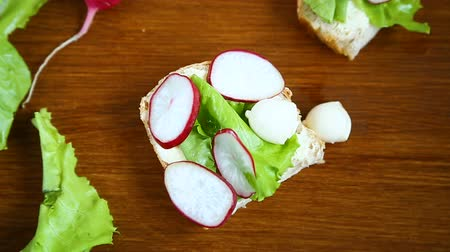 tvaroh : sandwich with cheese, lettuce and red radish on a wooden