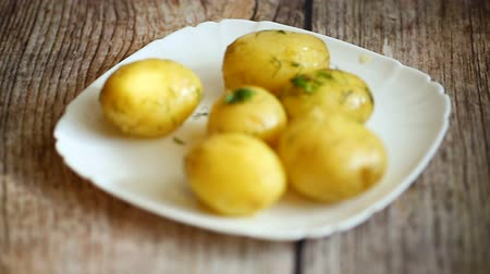 boiled young potato with butter and dill in a plate Wideo