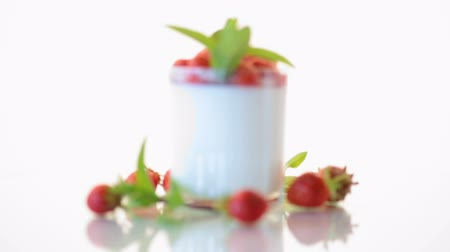 sweet homemade yogurt with fresh ripe strawberries