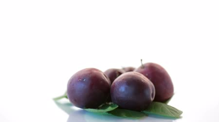 organic red ripe cherry plum isolated on white Stok Video