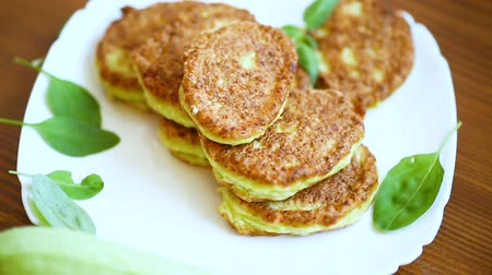 vegetable fritters made from green zucchini in a plate