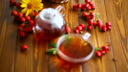 briar : hot tea from medicinal fruits of red ripe rosehip