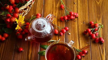 rosehip : hot tea from medicinal fruits of red ripe rosehip