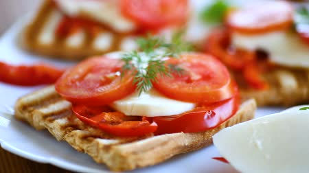bruschetta : Closeup of a fresh sandwich with mozzarella, tomatoes