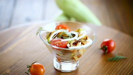 olivy : warm grilled zucchini salad with fresh cherry tomatoes and onions