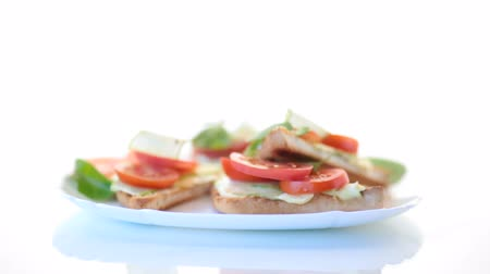 stuffing : tasty sandwich with curd paste, fresh cucumbers and tomatoes