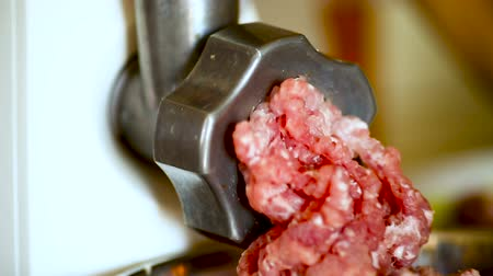 stuffing : an electric meat grinder twists the meat