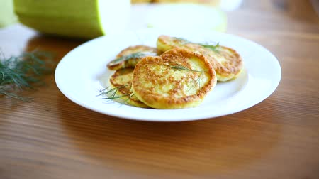 cuketa : vegetable fritters made from green zucchini in a plate