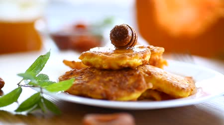 baked pumpkin : tasty fried sweet pumpkin pancakes with honey