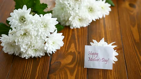 bouquet of white asters with a greeting card for mom Stok Video