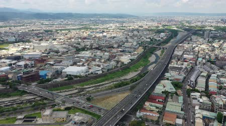 ileri : Taichung,Taiwan-Jun 21:Aerial top view Provincial highway 74 Next to the Dongying Park.
