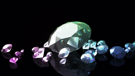 refractive : Diamonds on a black background with a beautiful gradient illumination Stock Footage