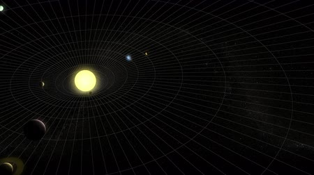 formations : Animation depicting the solar system with planets in motion with an imaginary field of gravity