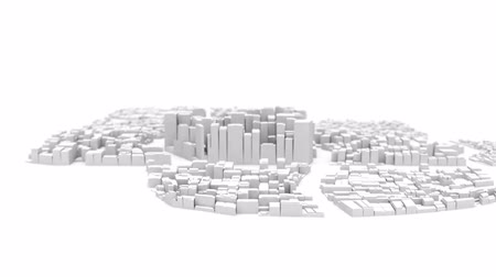 увеличение : Flyby camera over the abstract white city with the growing buildings 3D rendered on white surface (timelapse)