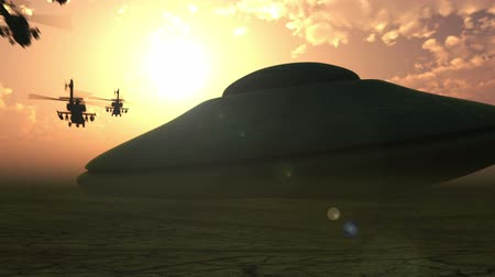 kitalálás : Several military helicopters fly to the alien spaceship landed in the desert Stock mozgókép
