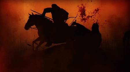 středověký : Computer generated battlefield with four battle scenes (silhouettes)