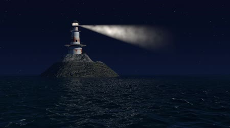 világítótorony : Computer generated lighthouse at night with stars and a calm ocean