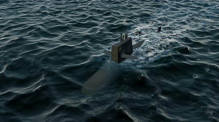 u boats : Computer generated submarine travelling on the surface of the ocean Stock Footage