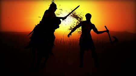 средневековый : Computer Generated Battlefield W5 battle scenes (silhouettes) Romans vs Barbarians