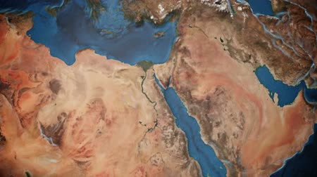 местность : Animated earth with detailed terrain representing North africa and the Middle East Стоковые видеозаписи