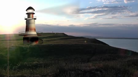 балки : Computer generated old lighthouse at sunset