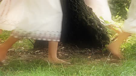 faerie : Young girls playing in a forest. They are dressed in surcoats. Stock Footage