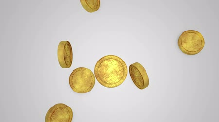 монета : Computer generated gold coins (on the front and back,the coins depict abstract symbols) Стоковые видеозаписи