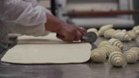 hamur : Commercial bakery. Baker roll french bread croissant. Stok Video
