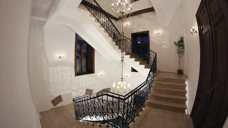 interior : Wrought iron staircase.Vintage house.