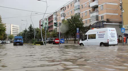 повреждение : Tulcea Romania  September 13 2013: European city flooded after a heavy rain