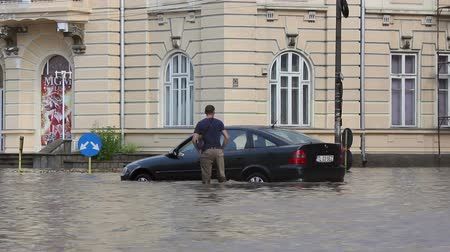 floods : Tulcea Romania  September 13 2013: European city flooded after a heavy rain