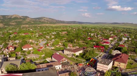 çevre : Flying over a small village in celebration day Greci  Romania aerial perspective