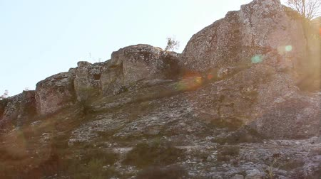 jura : Limestone formations from an ancient sea bed.Dating back to the Jurassic period.steady footage Stock mozgókép