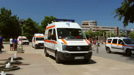 priority : Tulcea, Romania - 16 July 2015: Ambulances during emergency response on July 16 2015 in Tulcea, Romania