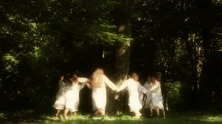 tündér : Luncavita, Romania - 24 June 2012: People in the village celebrate the Snziene gentle fairies holiday annually. The most beautiful maidens in the village dress in white and spend all day playing in the forest and picking flowers.