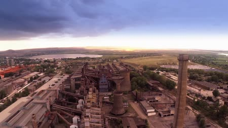 распад : Industrial landscape with an abandoned ferroalloys plant, aerial view