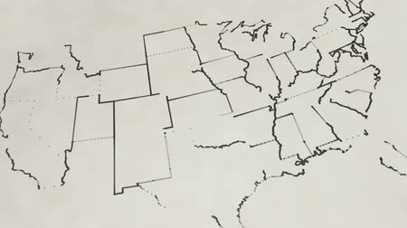 devletler : Pencil sketch of the United States map Animation Stok Video