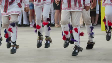 romanian traditional costume : TULCEA, ROMANIA - AUGUST 08: Romanian traditional dance at the International Folklore Festival for Children and Youth Golden Fish on August 08, 2016 in Tulcea, Romania