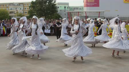 multiculturalità : Tulcea, Romania - August 08: Georgiano danza tradizionale al Festival Internazionale del Folklore per i bambini e Golden Fish Youth on 8 agosto 2016 a Tulcea, Romania Filmati Stock