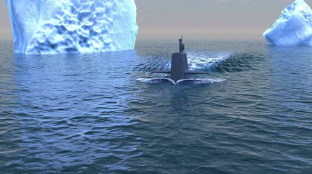 u boats : Computer generated submarine travelling on the surface of the Arctic ocean