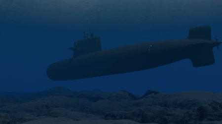 u boats : Computer generated submarine patrolling close to the ocean floor Stock Footage