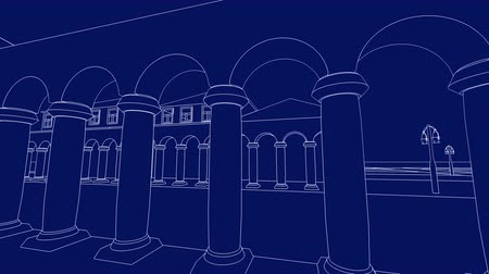 blueprint : Computer generated blueprint of an 18th century marketplace with columns and street lanterns Stock Footage