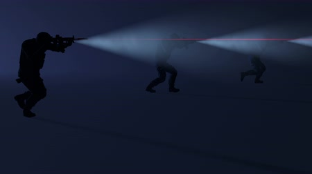 special unit : 3D animation of a swat team in action with the flashlights and laser sights on