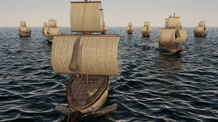 water cannon : 3D Animation of old wooden warships fleet on the ocean