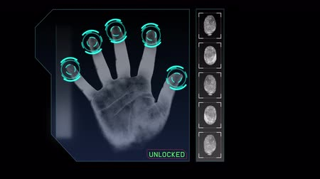 uznání : Animation of a hand scanning for security or identification