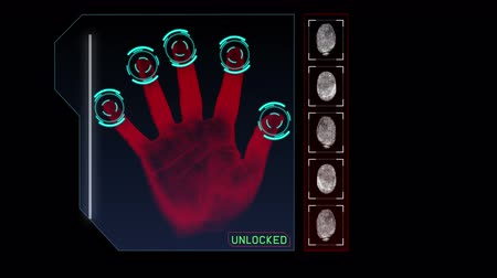 parmak izi : Animation of a hand scanning for security or identification
