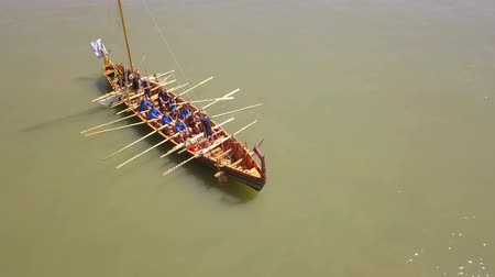 armed : ISACCEA, ROMANIA - AUGUST 12: Liburna, Roman warship on the Danube river inside the project Relive History third edition on August 12, 2018 in ISACCEA, Romania.