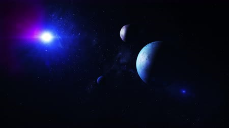 emissions : 3D animation of a distant star system with alien planets Stock Footage