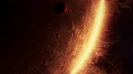 távcső : 3D animation of an alien planet with amazing atmosphere