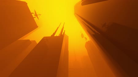 refletindo : Animation of a sci-fi city covered in a foggy atmosphere